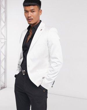 Белый атласный пиджак Twisted Tailor