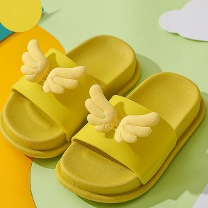 Тапочки с декором крыла для девочек SHEIN. Цвет: жёлтые