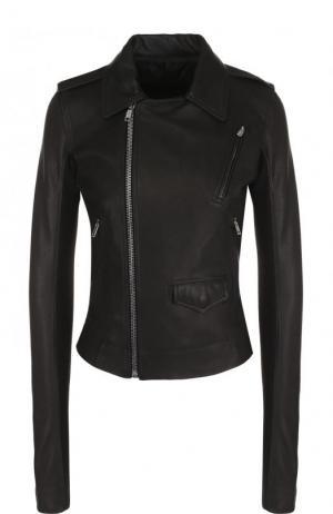 Приталенная кожаная куртка с косой молнией Rick Owens. Цвет: черный