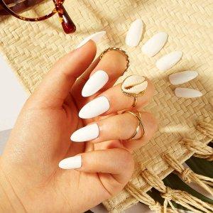 Обычные накладные ногти 24шт с лентой SHEIN. Цвет: белый