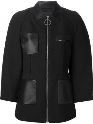Куртка с кожаными панелями Alexander Wang. Цвет: чёрный