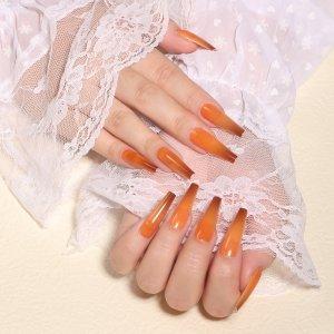 24шт омбре Накладные ногти & 1шт пилочка для ногтей 1 лист лента SHEIN. Цвет: коричневые