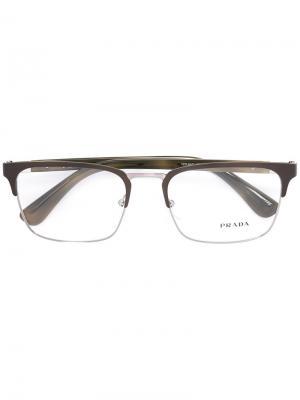 Очки в квадратной оправе Prada Eyewear. Цвет: зеленый