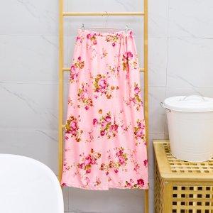 Ванное полотенце с цветочным принтом SHEIN. Цвет: розовые