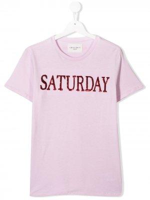 Футболка Saturday Alberta Ferretti Kids. Цвет: розовый