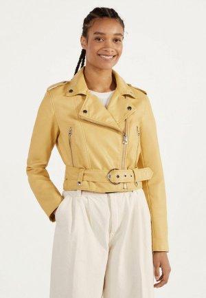 Куртка кожаная Bershka. Цвет: желтый
