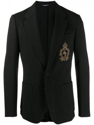 Блейзер с вышивкой Dolce & Gabbana. Цвет: черный