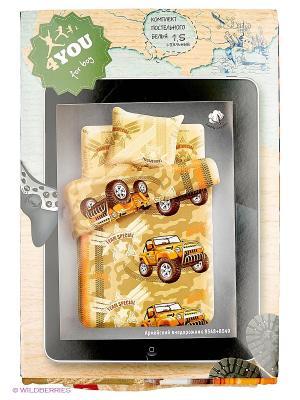 Комплект постельного белья 1,5 бязь Армейский внедорожник 4you. Цвет: бежевый, коричневый, оранжевый