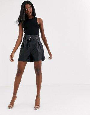 Черные шорты с поясом -Черный Lipsy
