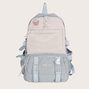 Пряжкой & с узлом Книга Рюкзак подвеской для сумки SHEIN. Цвет: синий