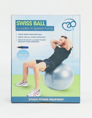 Серебристый мяч для фитнеса диаметром 65 см с насосом -Бесцветный ExaFit