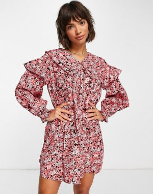 Красное платье мини из органического хлопка с присборенной юбкой, большим воротником и цветочным принтом -Разноцветный Vero Moda