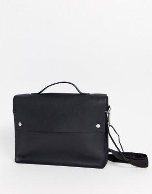 Черный кожаный портфель на кнопках ASOS DESIGN