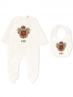 Комплект King из ромпера и нагрудника Dolce & Gabbana Kids. Цвет: белый