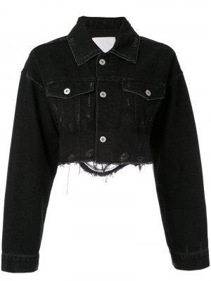 Укороченная джинсовая куртка с эффектом потертости Ground Zero. Цвет: серый