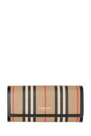 Бумажник из ткани e-canvas с фирменным принтом Burberry. Цвет: бежевый
