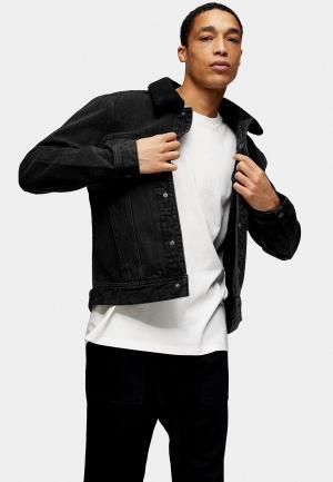 Куртка джинсовая Topman. Цвет: черный