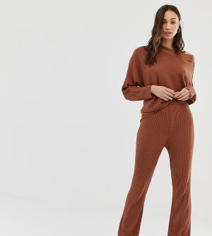 Трикотажные расклешенные брюки в рубчик для дома ASOS DESIGN Tall-Коричневый Tall