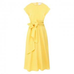 Платье-миди BOSS. Цвет: жёлтый
