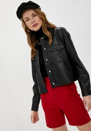 Куртка кожаная Pieces. Цвет: черный