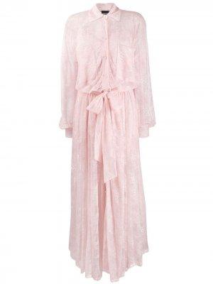 Кружевное платье-рубашка макси Ermanno. Цвет: розовый