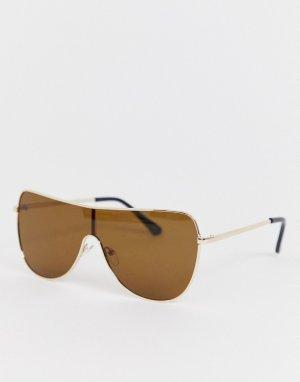 Солнцезащитные очки в золотистой оправе с прямым верхом -Золотой Jeepers Peepers