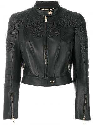 Байкерская куртка с вышивкой Versace. Цвет: чёрный