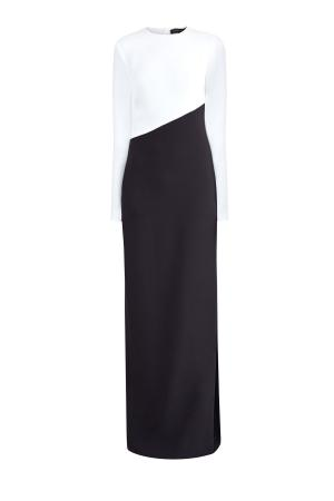 Платье-макси в монохромной гамме с высоким разрезом на подоле ALEXANDER TEREKHOV. Цвет: черно-белый