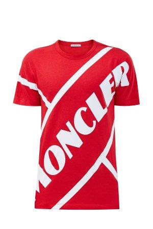 Хлопковая футболка с принтом в стиле теннисной униформы 70-х MONCLER. Цвет: красный