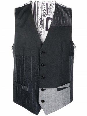 Шерстяной жилет в технике пэчворк Dolce & Gabbana. Цвет: белый