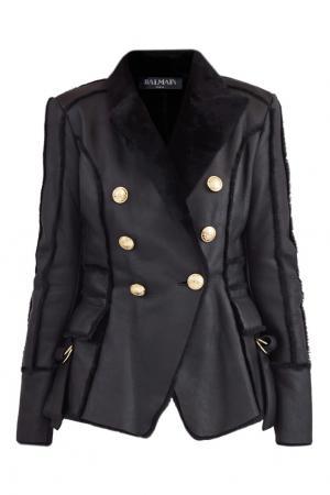 Черная кожаная куртка Balmain. Цвет: черный