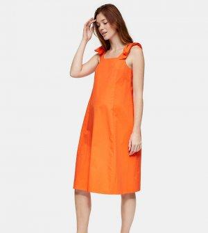 Оранжевое поплиновое платье миди Maternity-Оранжевый цвет Topshop