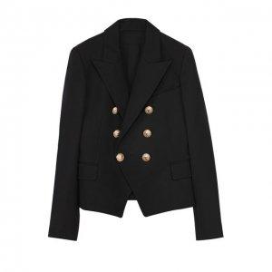 Пиджак из шерсти с декорированными пуговицами Balmain. Цвет: чёрный