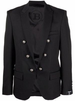 Однобортный пиджак с тиснением Balmain. Цвет: черный