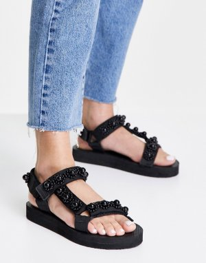 Спортивные сандалии черного цвета с жемчужной отделкой -Черный цвет Glamorous