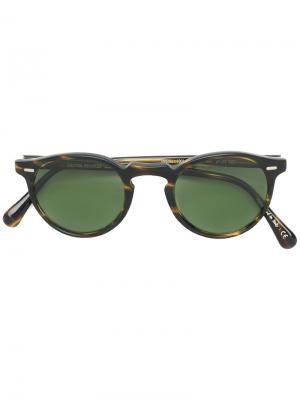Солнцезащитные очки Gregory Peck в круглой оправе Oliver Peoples. Цвет: коричневый