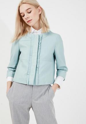 Куртка кожаная Max&Co. Цвет: бирюзовый