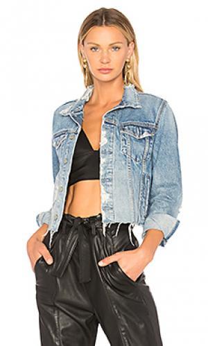 Укороченная джинсовая куртка cara GRLFRND. Цвет: синий