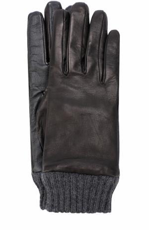 Кожаные перчатки с шерстяной подкладкой и манжетами Diesel. Цвет: черный