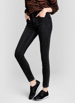 Зауженные джинсы с начёсом O`Stin. Цвет: черный