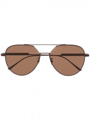 Солнцезащитные очки-авиаторы с логотипом Bottega Veneta Eyewear. Цвет: коричневый