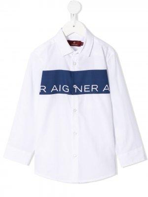 Рубашка с логотипом Aigner Kids. Цвет: белый