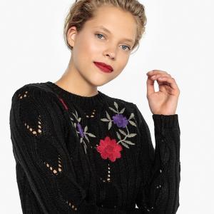 Пуловер с круглым вырезом и вышитым цветочным рисунком LA REDOUTE COLLECTIONS. Цвет: серый,черный