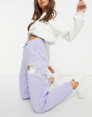 Сиреневые джоггеры свободного кроя с маленьким рисунком ангелов от комплекта -Фиолетовый цвет Fiorucci