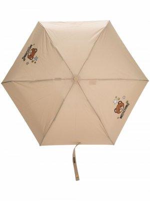Teddy bear-print large umbrella Moschino. Цвет: нейтральные цвета