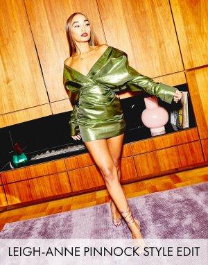Коктейльное платье с эффектом металлик -Зеленый ASOS EDITION
