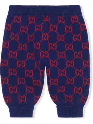 Трикотажные брюки с узором GG Supreme Gucci Kids. Цвет: синий