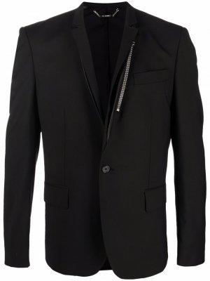 Однобортный пиджак с молнией Les Hommes. Цвет: черный