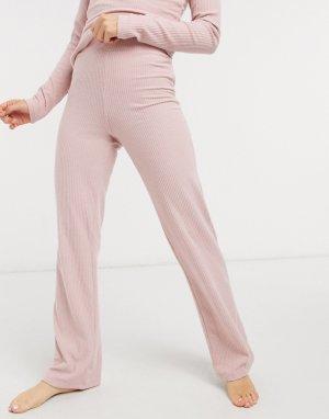 Розовые широкие брюки в рубчик для дома Loungewear-Розовый цвет Lipsy