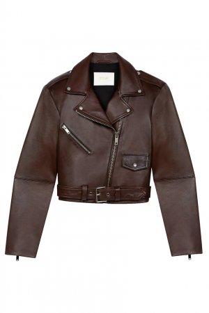 Коричневая кожаная куртка Maje. Цвет: коричневый